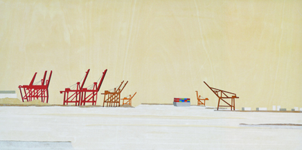 "Harbour © Vicky Chen, silkscreen on gampi, paper colalge, wood; 12"" x 24"" x 1.5"""