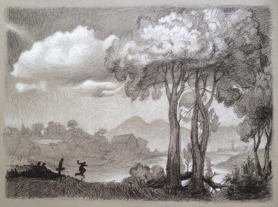 "Drawing after Claude Lorrain #2, Pencil on Paper, 18""x 24"", 2015"