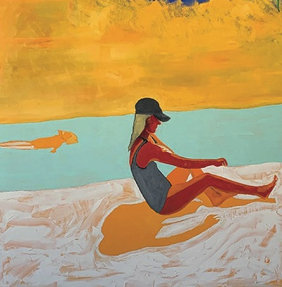 Mason Bowen Bondi Clara by the Pool oil painting 60x60-2